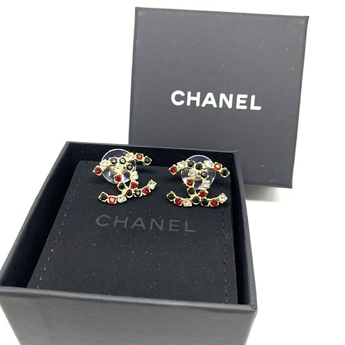 CHANEL Brand New CC Coco Red Black Crystals Pierced Earrings