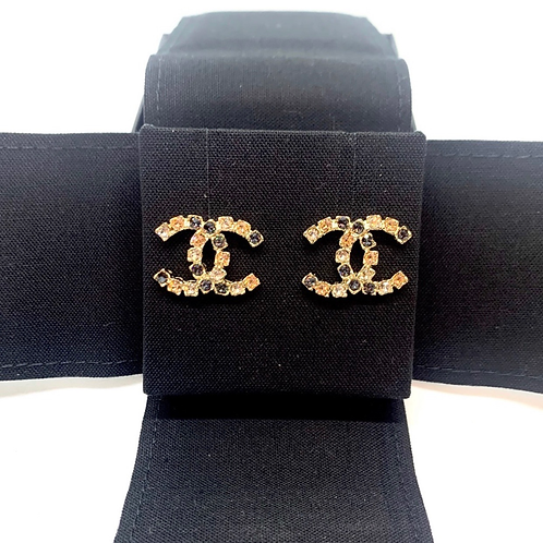 CHANEL Brand New CC Coco Pink Gray Crystal Pierced Earrings