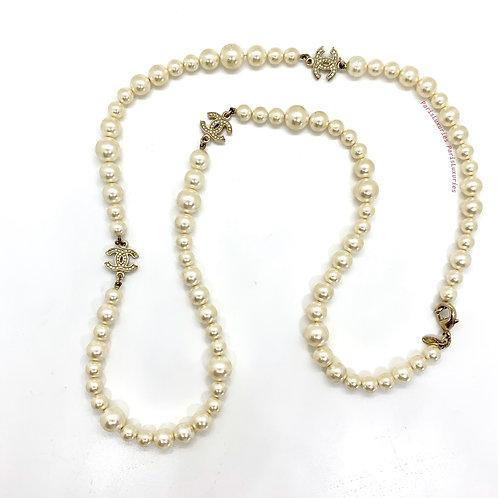 "CHANEL White Pearl 37"" inch Gold Three CC Rhinestone Necklace"