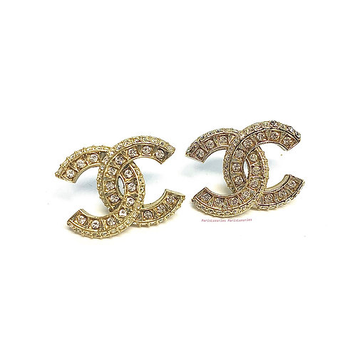 CHANEL F17 Large Gold CC Baguette Square Crystals Earrings