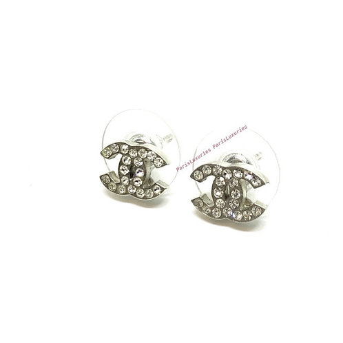CHANEL Mini Classic CC Interlocking Rhinestone Earrings