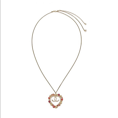 CHANEL Statement XL Heart CC Enamel Stone Pendant