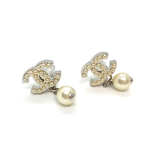 CHANEL Silver CC Pearly Studded Dangle Pearl Clip Earrings