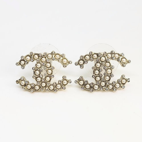 CHANEL New Pearl Crystal CC Coco Large Rare Earrings