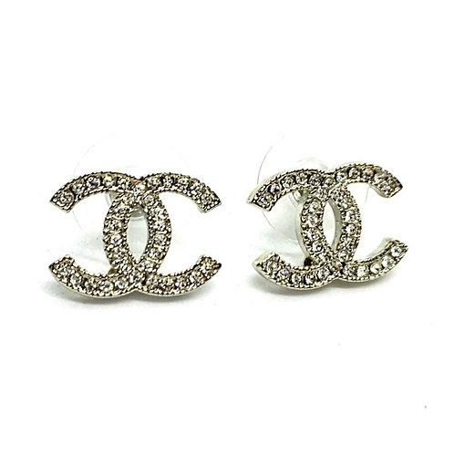CHANEL Classic Silver Moscova Rhinestone Crystals Earrings