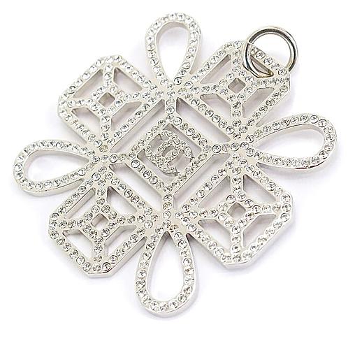 CHANEL Oversized Snowflake Detailed CC Rhinestone Pendant