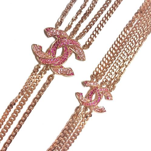 CHANEL Pink Gold Chain Rhinestone Necklace / Belt