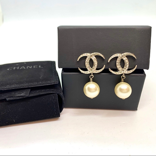 CHANEL 15C Large Silver CC Dubai Moon Crystal Clip Earrings