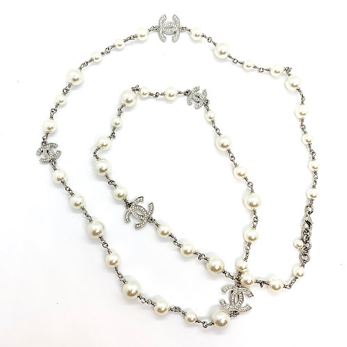 """CHANEL B18 Long Double 42"""" White Pearl 5 CC Crystal Necklace"""