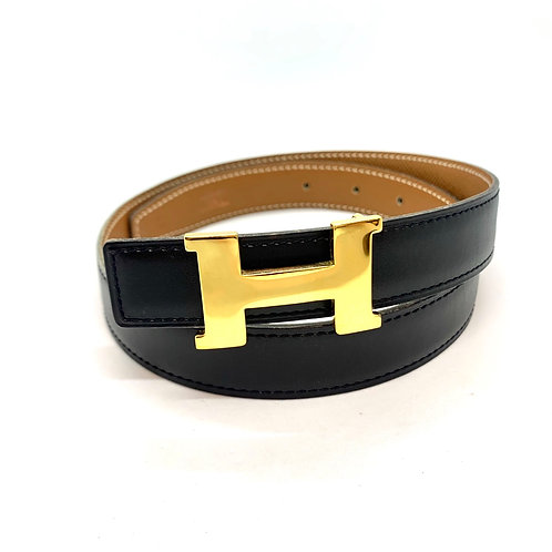HERMES 60 Constance Black Brown Gold H Logo Belt