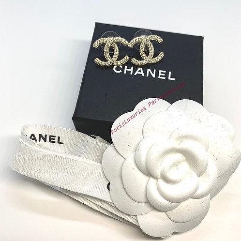 CHANEL Classic Gold Rhinestone CC Stud Earrings