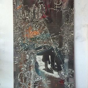 Ranis,spray and scratchboard,collaboration with Rani Birenbaum,30/60cm,2006
