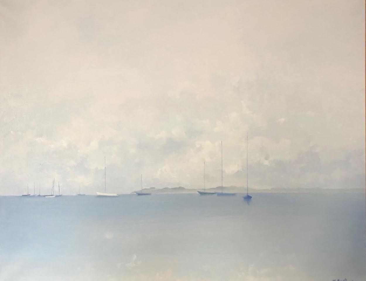 Blue sailboats at Port-Blanc
