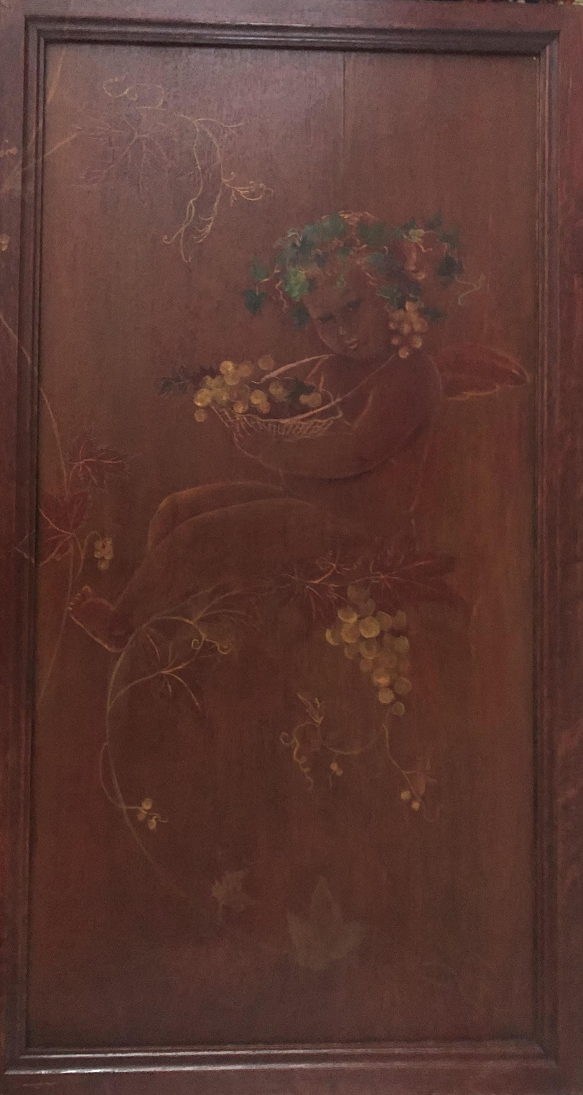 Angelot avec sa corbeille de fruits, panneau de bois d'armoire