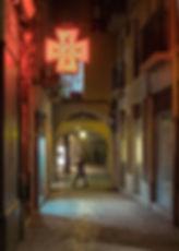 El barrio viejo de Girona de noche