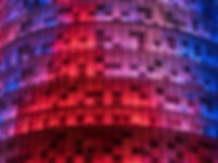 Detalle de la torre Agbar de noche