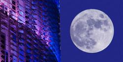 Torre Agbar i Lluna plena