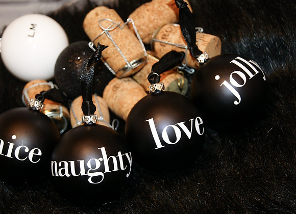 Set of 8 Monochrome Baubles