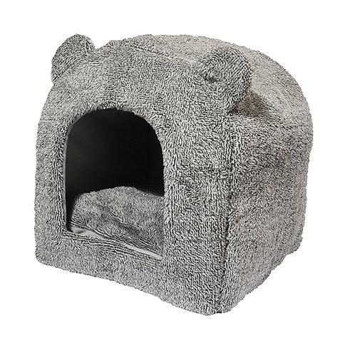 40 Winks Cat Hooded Bed Grey  Teddy Bear 38x38cm