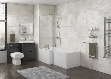 L Shape Bath with Screen & Side Panel - Right Hand