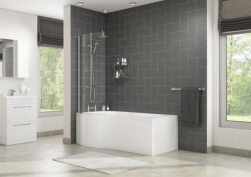 P Shape Bath with Screen & Side Panel - Left Hand