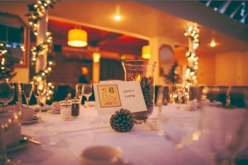 A view of a reception in the evening