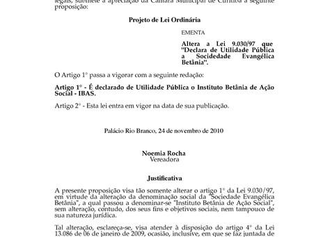 Sociedade Evangélica Betânia declarada Utilidade Pública