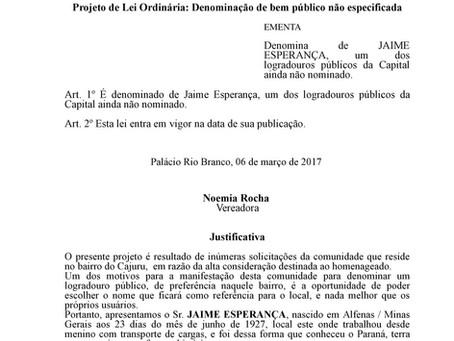 Denominação de Jaime Esperança um logradouro público de Curitiba