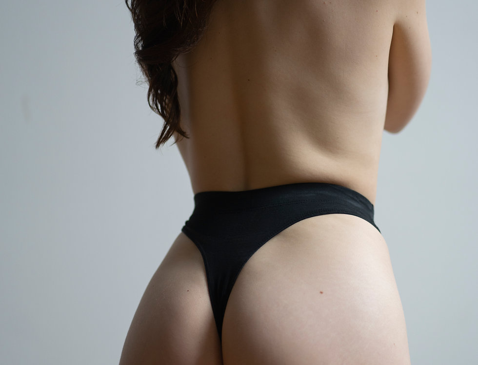 High waist cotton thong
