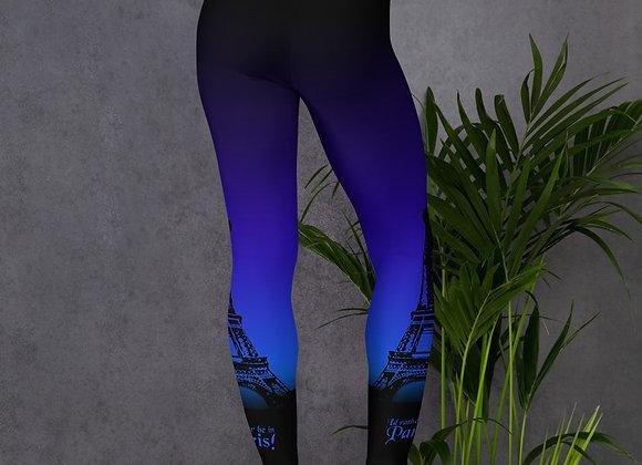 I'd Rather be in Paris Leggings - Blue