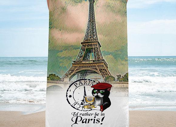 Senor Fluffy Beach Towel - I'd rather be in Paris