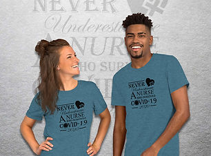 Tshirt that says Never Underestimate a Nurse who survived COVID-19