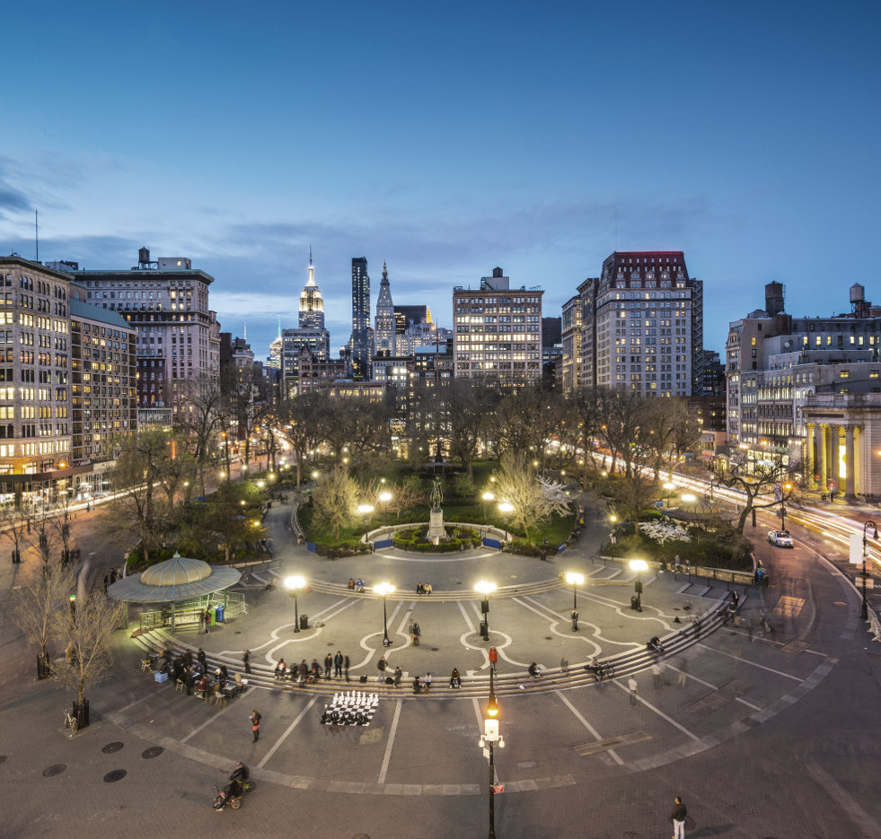 Union Square Park in NYC in the evening