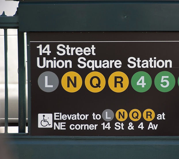 14th Street Union Square subway station sign in NYC
