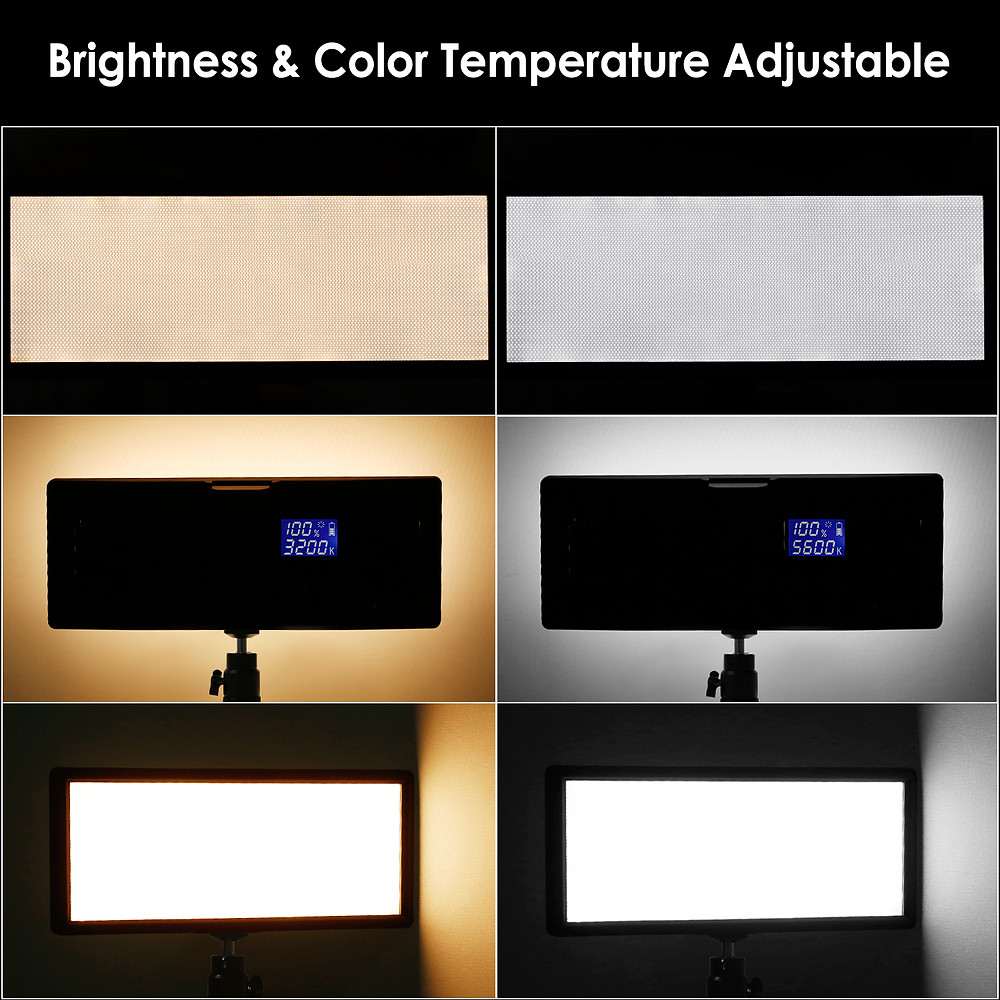 Neewer Super Slim Bi-color Dimmable LED Video Light with LCD display