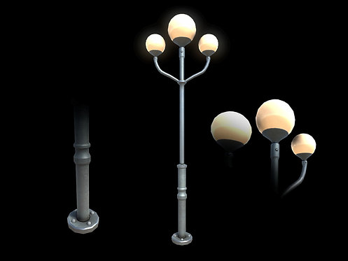 Ball Retro Street Lamp (With LOD)