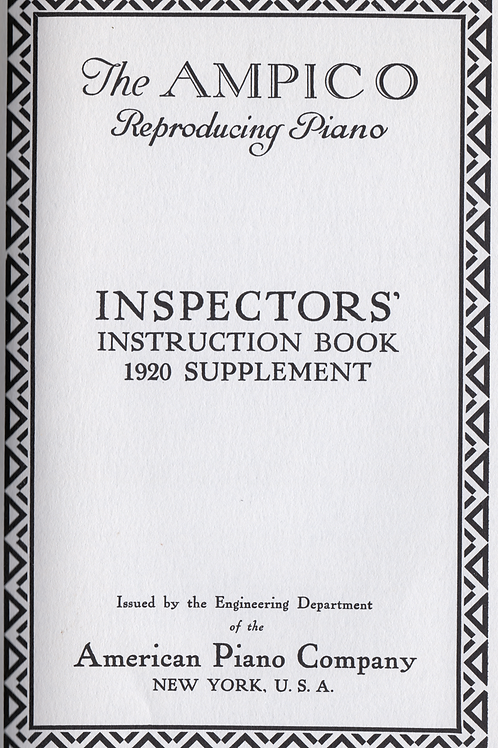 AMPICO Reproducing Piano ( 1920 SUPPLEMENT ONLY )