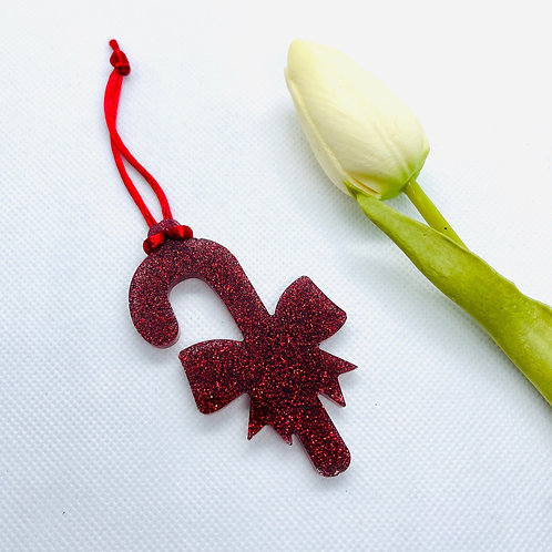 Glitter CandyCane with Bow Ornament