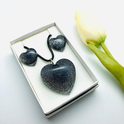 Heart Glitter Pendant and Stud Earring Resin set