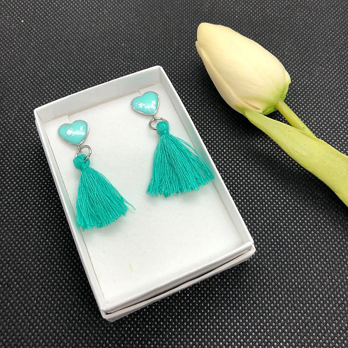 Stainless Steel Heart Earrings with cotton Tassel - TEAL