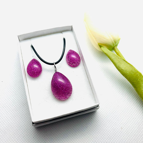 Teardrop Glitter Resin Stud Earring and Pendant Set