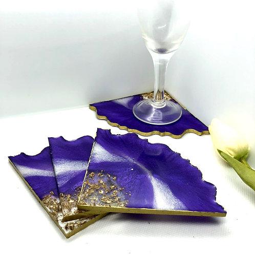 Resin Triangle 4 Coaster Set - Purple/white/gold