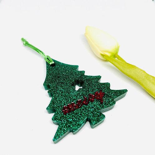 Glitter Merry Christmas Tree Ornament