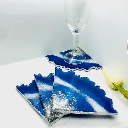 Resin Triangle 4 Coaster Set - Blue/white/silver