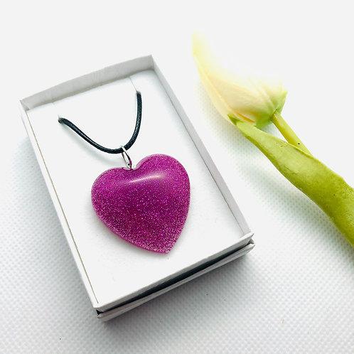 HOT PINK Heart Glitter Resin Pendant