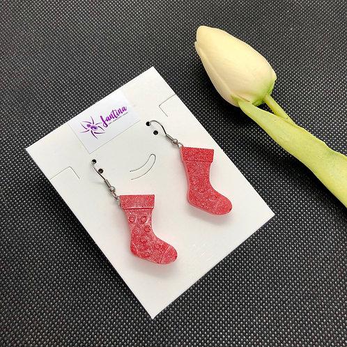 Red Shimmer Christmas Stocking Earrings