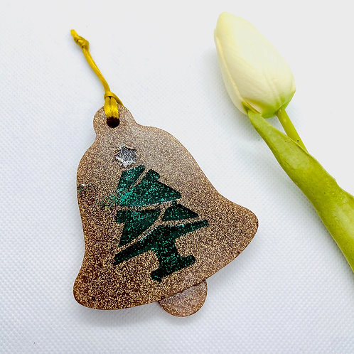 Glitter Bell with Christmas Tree Ornament