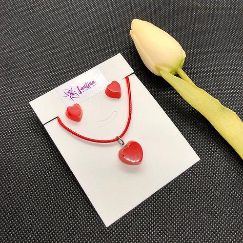 Mini Red Heart Earrings and Pendant Set - Flat
