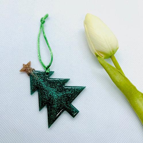 Glitter Xmas Tree with Star Ornament
