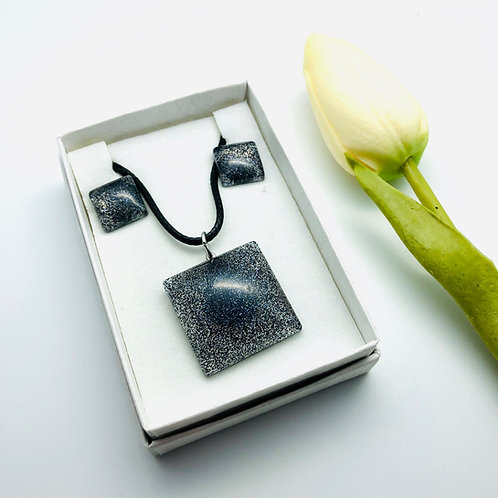 Small Square Stud Earring and Glitter Pendant Resin set